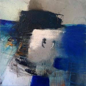 """""""Dark matter"""" Acryl und Kreide auf Leinwand 90 x 90 cm 2019 von Caroline Chevillotte"""