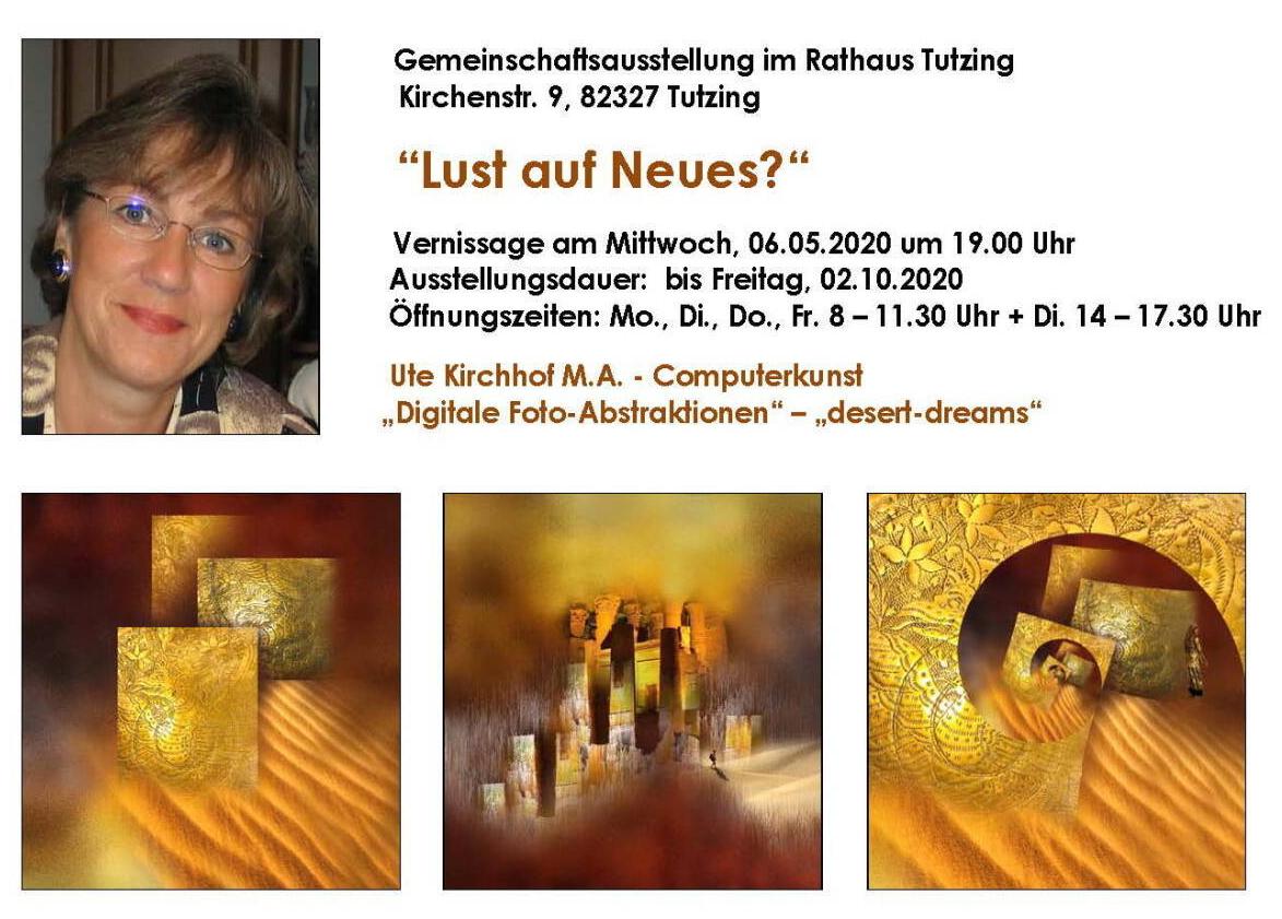 """Ute Kirchhof ist Teilnehmerin der Ausstellung """"Lust auf Neues?"""" im Rathaus Tutzing @ Rathaus Tutzing"""