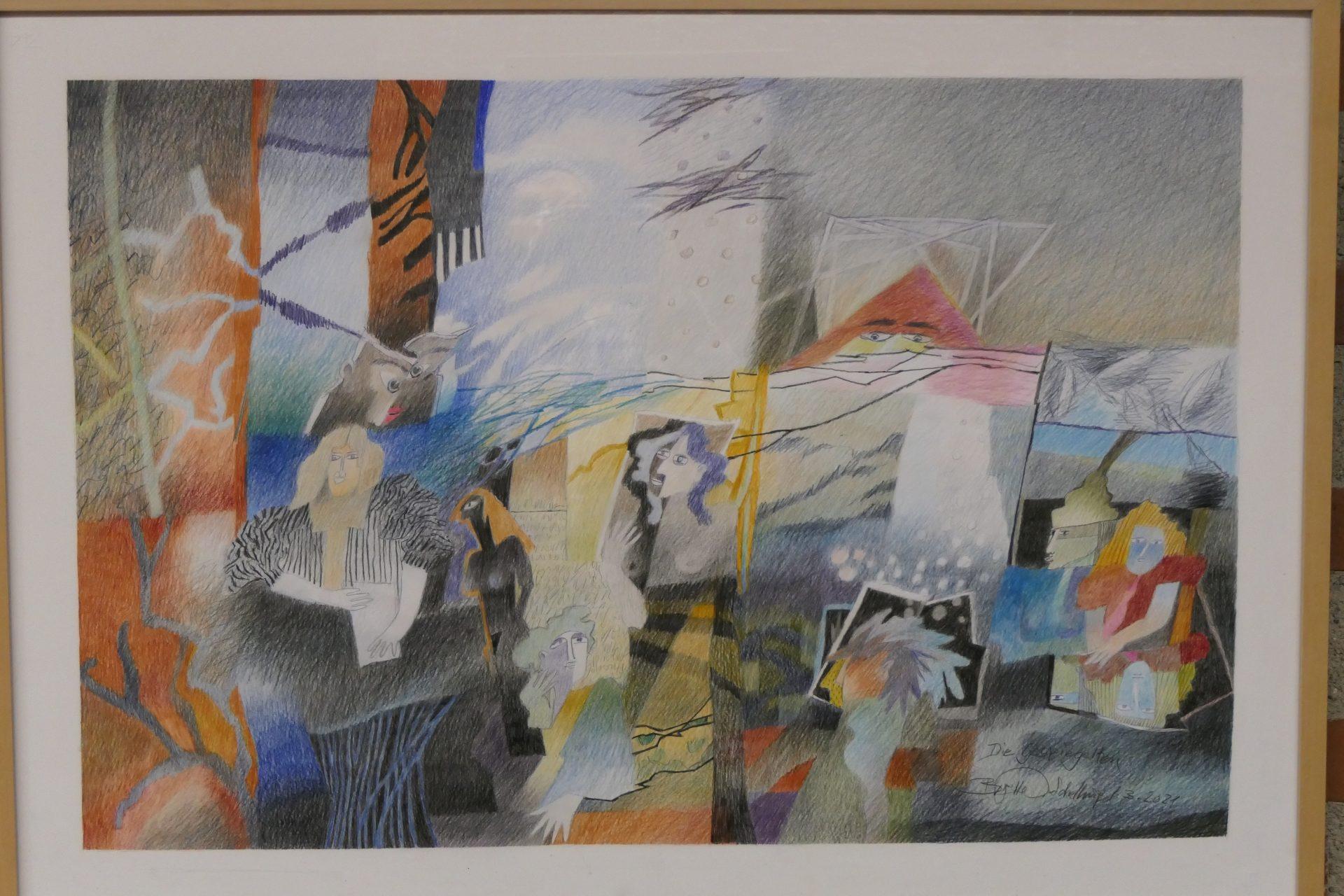 Die gespiegelten von Brigitte Doege Schellinger,Stift auf Papier